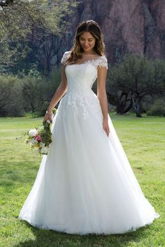 Sweetheart Gowns - Style 1134: Lace and Tulle Ball Gown with V-Back and Short Sleeves