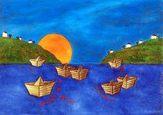"""Κορνήλιος: """"Τον εαυτό μου παιδί από το χέρι κρατάω… να ονειρευτεί, να οραματιστεί, να ζωγραφίσει."""" Sea, Painting, Painting Art, The Ocean, Paintings, Ocean, Painted Canvas, Drawings"""