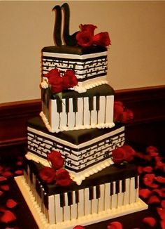 Awesome Pictures : Amazing Red, Black And White Wedding Cakes Pic] - Awesome Pictures : Amazing Red, Black And White Wedding Cakes Pic] - Gorgeous Cakes, Pretty Cakes, Cute Cakes, Amazing Cakes, Music Themed Cakes, Music Cakes, Music Wedding Cakes, Piano Wedding, Black And White Wedding Cake