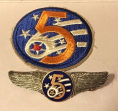 WWII 5th Army Air Force Bomber Patch & Wings Pin Pinback AAF | eBay