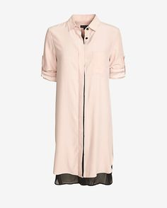 rag & bone Double Layered Shirtdress: A shirtdress with a fold-over collar and button placket closure. Button cuffs at long sleeves. Double layered uneven hem. In pale pink. Fabric: 100% cotton Model Measurements: Height 5'10; Waist 25 ; Bust 32   Length from shoulder to hem: 40 for size 2 ...