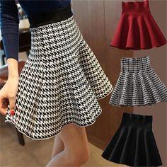 Korean Women Knit High Waist Slim Bubble A-Line Plain Skater Flared Mini Skirt