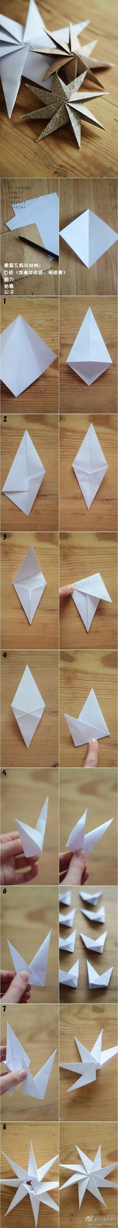 Origami 8-point star -- tutorial