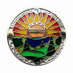 Geocaching / Geocoin lapel pin: Geowoodstock 5 (2007) Sunburst silver
