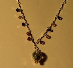 Sterling Silver Glass Dangle Pendant Necklace 7 Grams by onetime, $9.25