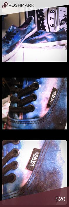 Vans Galaxy Print Canvas Shoes - Blue & Purple Wore to Imagine Music Festival, washed them, haven't worn since. They still need to be broken in properly. Galaxy Print is vey vibrant & catches attention! Black Laces. Vans Shoes Sneakers