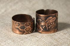 Bee's queen ring Copper ring Honey rustic by AnnTitovaDesign