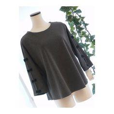 メルカリ商品: 【新品】0535【L】リボン袖 ポンチ地プルオーバー グレー 日本製 #メルカリ