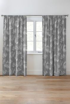 Buy Grey Toile Pencil Pleat Lined Curtains from the Next UK online shop