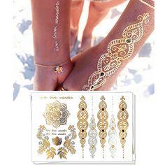 Gold Choker Temporary Tattoo Body Art Sleeve Arm Flash Tattoo Stickers, 21*15cm Waterproof Tatto Henna Fake Tatoo Beauty Selfie
