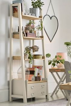 Buy Huxley Painted Ladder Shelves from the Next UK online shop Ladder Shelf Decor, Ladder Bookcase, Bookcase Decor, Bookcase, Wall Decor Living Room, Corner Shelves, Shelves, Home Decor, Ladder Shelf