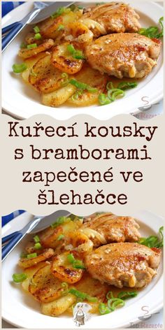 Kuřecí kousky s bramborami zapečené ve šlehačce Chicken Wings, Poultry, Ham, Chicken Recipes, Recipies, Good Food, Food And Drink, Lunch, Beef