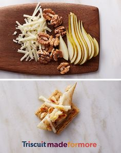 From the fridge to your mouth in 5 minutes! To make our Pecopearwalscuit add aged pecorino cheese, chopped walnuts, and a juicy pear for a salty, nutty, sweet snack. Or, you could just say salty-but-sweet. This is where we took it. Where you take it is entirely up to you. #Triscuit