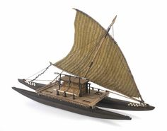 Drua - double hulled voyaging canoe of Fiji Wooden Model Boats, Wooden Boats, Scale Model Ships, Outrigger Canoe, Canoe And Kayak, Boat Design, Small Boats, Kayaks, Boat Plans