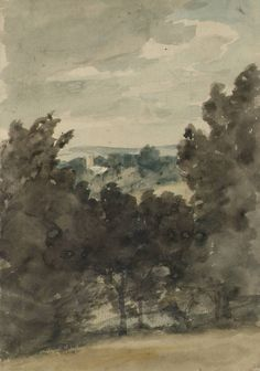 John Constable (English, View towards Stratford St Mary Church, c. Watercolor and graphite on paper, x cm. Abstract Landscape, Landscape Paintings, John Constable Paintings, English Romantic, Art Fund, Tate Gallery, Watercolor Trees, Portraits, Simple Art