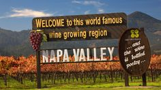 Napa Valley wine region sign with vineyard behind in San Francisco