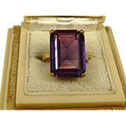 Stunning Huge Art Deco Design 17ct Alexandrite Rose Gold Ring ~ c1940s