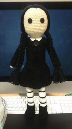 amigurumi Wednesday Addams revamp new version .. my own design :-)