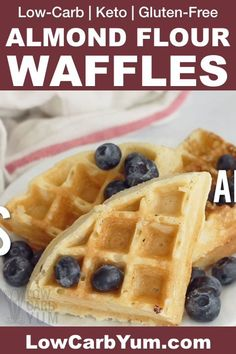 Easy and delicious keto waffles made with almond flour! A fantastic gluten-free . - The Keto Diet - Keto Waffle, Waffle Recipes, Bread Recipes, Low Carb Keto, Low Carb Recipes, Healthy Recipes, Gluten Free Recipes Videos, Diet Recipes, Cooking Recipes