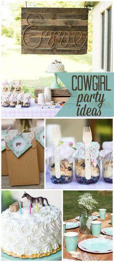 A shabby chic cowgirl birthday party with pink gingham and western accents of wood, hay and cowboy hats! See more party planning ideas at CatchMyParty.com!