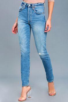 501 Skinny Medium Wash Distressed Jeans 2
