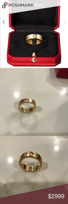 LOVE Ring, 3 Diamonds Always Authentic ! Size 52 which is size 6 I covered the serial number because I've noticed a lot of replicas selling here and I don't want them to copy mine. Comes with everything you see in the listing. No low baller offers it's insulting 🙄 NO TRADES Cartier Jewelry Rings