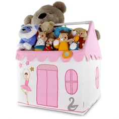 """This toy storage chest, which comes in the shape of a house, is made of 100% cotton fabric of very highest quality with an easily assemblable aluminum frame. Numerous designs (prima ballerina, swans, stars ...) are embroidered and appliqued with care across the chest. Children can put away their toys easily and without risk of trapping their fingers! Simply remove and fold the roof to open, then reposition and close with the help of the """"scratches""""."""