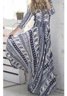 Blue Floral Print Irregular Draped Front Slit Bohemian Cotton Maxi Dress