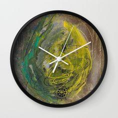 Lime spray painting on canvas, handmade Wall Clock