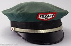 Texaco Service Attendant Hat, circa 1960s-1970s. A symbol of a past when service attendants filled your gas tank, checked your oil and washed your windshield. This particular version of the Texaco logo was used from the 1960s to the 1980s. The manufacturer of this uniform hat was a company called Dura-Bill.