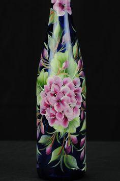 Altura redonda de la botella de aceite pintado a mano / rosa