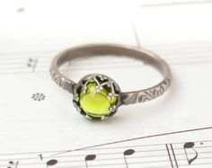 Peridot Ring , Green Peridot set in a Sterling Silver crown - Custom created in your size