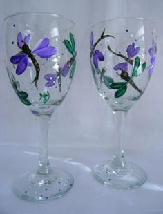 Dragonflys wine glasses by Morningglories1 on Etsy, $35.00