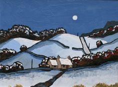 Moonlight near Nant Glyn contemporary British Paintings. View all David BARNES art and British artwork at Red Rag art gallery. Painting Snow, Winter Painting, Abstract Landscape, Landscape Paintings, Modern Paintings, Building Painting, Snow Scenes, Naive Art, Illustrations