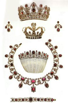 Napoléon and the French Crown Jewels - Travel To Eat - Marie Louis Ruby and Diamond Parure. Royal Jewelry, Ruby Jewelry, Jewelry Sets, Fine Jewelry, Gold Jewelry, Quartz Jewelry, Bullet Jewelry, Gothic Jewelry, Jewellery Box