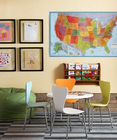 floating frames + map in playroom