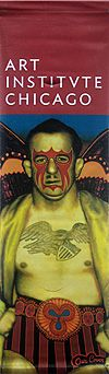 Paschke's 1969 oil painting, Mid American, captures the essence of Paschke's passion for electric color and super hero imagery, and is captured on this street banner.