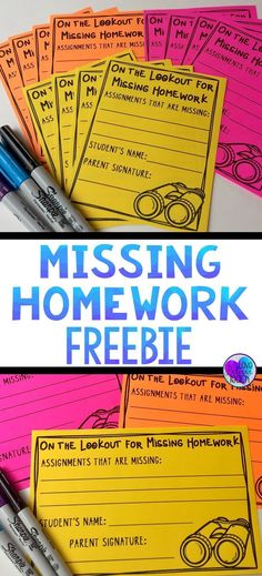 Missing Homework Notes & Tracking Sheet FREEBIE : Missing homework is a common problem for many teachers. Here is a simple system that will hopefully make dealing with it easier. A quick slip to send home to parents and a tracking sheet is all you need. 5th Grade Classroom, Future Classroom, School Classroom, Classroom Ideas, High School Teachers, Classroom Libraries, Classroom Procedures, Classroom Behavior, Classroom Management