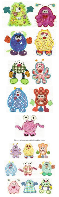 Embroidery | Free machine embroidery designs | Monsters applique