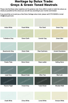Grey And Green Shades From The Dulux Heritage Colour Chart Paint Colours