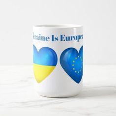Ukraine Heart is European EU Flag Morphing Mug - home gifts ideas decor special unique custom individual customized individualized