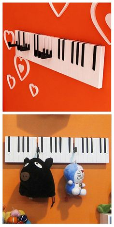 Novelty Creative Piano Key Shape Wall Hooks, quite unique to decorate your kid's room