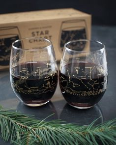 Night Sky Star Chart Summer & Winter Stemless Wine Glasses (Pair) - Cognitive Surplus - 1