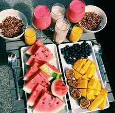 food, fruits, mango, pineapple, watermelon