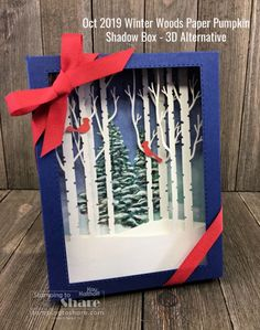 October 2019 Winter Woods Paper Pumpkin Plus Alternative Shadow Box (Stamping To Share) Fun Diy Crafts, Paper Crafts, Paper Art, Box Cards Tutorial, Card Tutorials, Diy Card Box, Christmas Shadow Boxes, Hand Stamped Cards, Handmade Journals