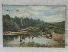 Картина 19 века - Дети на реке