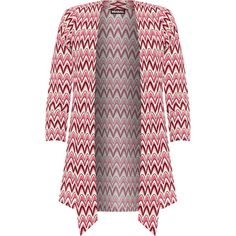 Monroe Crepe Zig Zag Waterfall Cardigan (475.180 IDR) ❤ liked on Polyvore featuring tops, cardigans, pink, plus size, plus size cardigans, plus size long sleeve tops, waterfall cardigan, patterned tops and long sleeve tops