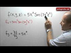 Primeras derivadas parciales de una función: Julio Rios explica cómo obtener las primeras derivadas parciales de una función de tres variables.