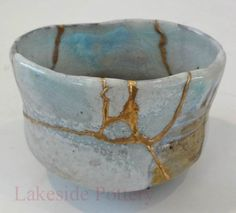 wood fired kintsugi tea bowl