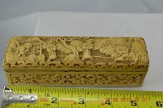 Antique Vintage Chinese Carved Cinnabar White Laquer 4 Compartment Stamp BOX | eBay
